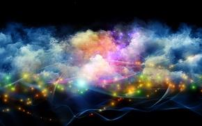 Картинка огоньки, дым, краски, свет, линии, яркость