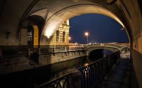 Картинка ночь, река, Санкт-Петербург, underbridge