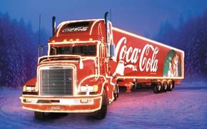 Картинка новый год, грузовик, coca cola, тягач, Freightliner, фура