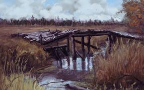 Картинка осень, мост, чернобыль, речка, припять, зона, Сталкер 2