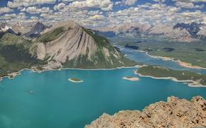 Картинка небо, облака, горы, озеро, панорама