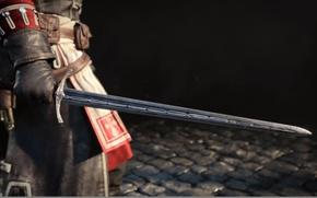 Картинка меч, тамплиер, чёрный фон, Assassin's Creed, Rogue, Шэй Патрик Кормак, Изгой