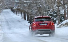 Картинка Red, Winter, Fiat, Cross, 500X, (2015), Backview