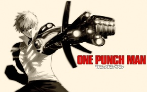 Картинка оружие, фантастика, аниме, киборг, киберпанк, One Punch Man, OnePunch-Man, genos