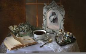 Картинка ретро, фото, чай, духи, ожерелье, книга, натюрморт, винтаж