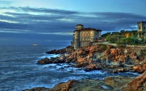 Картинка море, небо, камни, замок, скалы, побережье, HDR, вечер, горизонт, Италия, Livorno, Boccale Castle