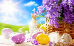Картинка солнце, цветы, яйца, весна, кролик, пасха, статуэтка, Easter
