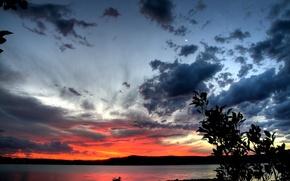 Обои озеро, берег, закат