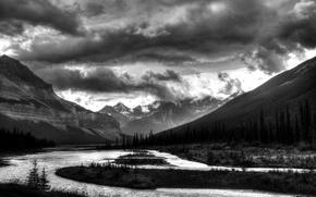 Картинка лес, горы, река, фото, черно-белое