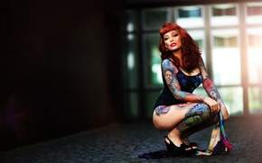 Картинка девушка, лицо, стиль, тело, шатенка, татуировки, Xenia