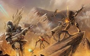 Картинка оружие, арт, солдаты, битва, Destiny, Bungie, скалы, роботы