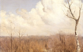 Картинка пейзаж, природа, картина, Gerrit Willem Dijsselhof, Осенний День