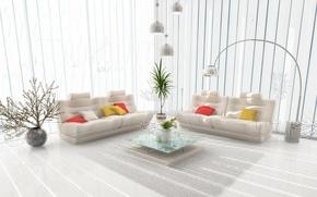 Картинка диван, лампа, ваза, столик