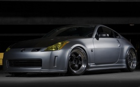Обои серый, гараж, Nissan 350Z