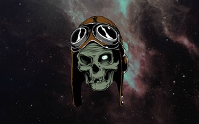 Картинка космос, звезды, череп, очки, skull