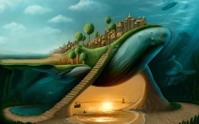 Обои лесница, кашалот, кит, город, бухта