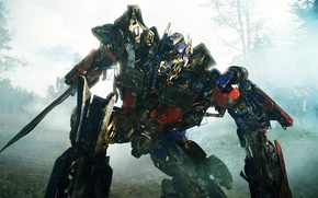 Обои лес, фантастика, робот, Трансформеры, битва, the movie, Месть падших, Transformers 2, forest battle, Revenge of ...