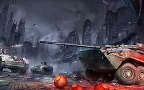 Обои ночь, город, война, арт, танк, бтр, armored warfare