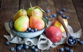 Картинка капли, ягоды, черника, тарелка, ложка, фрукты, натюрморт, груши, Anna Verdina