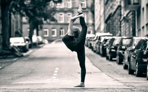 Обои балерина, street ballet, танец, грация, улица