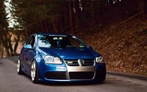 Картинка синий, тюнинг, volkswagen, перед, гольф, R32, golf