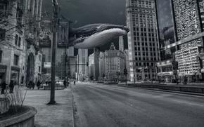 Картинка вода, синий, фантастика, океан, фотошоп, Город, кит, чикаго, под водой, photoshop, город под водой