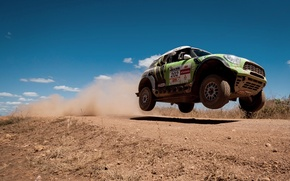 Картинка Небо, Скорость, Mini Cooper, Rally, Dakar, MINI, В воздухе, Мини Купер, X-raid, Летит