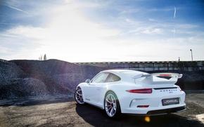 Картинка Porsche, white, порше, GT3, 991, rearside