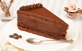 Обои торт, кусочек, десерт, сладкое, кофе, тарелка, крем, пирожное, шоколадное, зерна, ложка