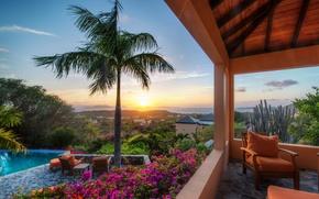 Обои закат, цветы, пальма, кресло, бассейн, кактус, терраса, British Virgin Islands, Virgin Gorda, Британские Виргинские острова, ...
