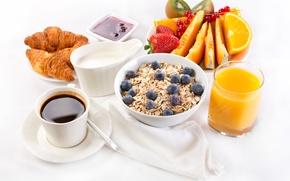 Картинка кофе, завтрак, сливки, сок, фрукты, джем, круассаны, breakfast, сервировка, овсянка