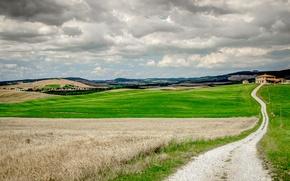 Картинка облака, поля, дороги, дома, Италия, Тоскана, фермы, линий электропередач