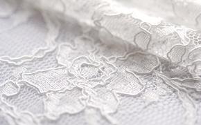 Обои белый, цветы, узор, складка, ткань, кружево
