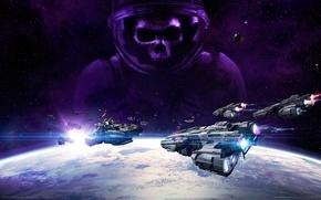 Картинка космос, планета, корабли, звёзды, game wallpapers, VEGA Conflict