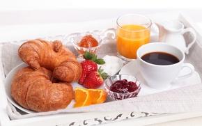 Картинка стакан, кофе, апельсин, завтрак, клубника, сок, чашка, сахар, дольки, джем, круассаны, рогалики