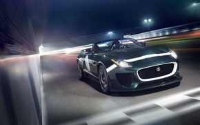 Картинка car, Jaguar, ягуар, в движении, автообои, F-Type, Project 7