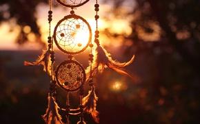 Картинка закат, перья, нитки, снов, ловец
