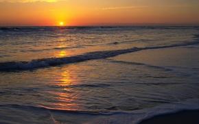Картинка море, пляж, солнце, закат, Природа, горизонт
