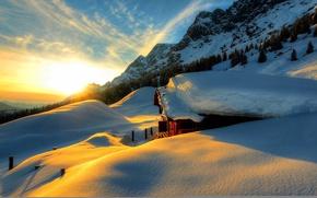 Картинка зима, небо, снег, пейзаж, природа, дом, house, white, sky, landscape, nature, sunset, beautiful, winter, snow, ...