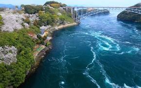 Картинка мост, река, берег, побережье, Япония, залив
