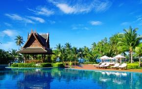 Картинка пальмы, отдых, бассейн, зонтики, беседка, кусты, лежаки
