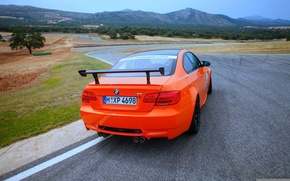 Картинка Дорога, BMW, Поворот, БМВ, Оранжевый, Движение, Автомобиль, GTS, Номер Спойлер