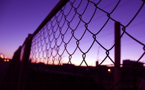 Картинка макро, закат, сетка, Забор