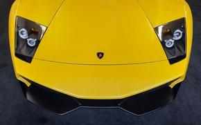 Картинка Lamborghini, жёлтая, ламборджини, yellow, Murcielago, front, мурселаго