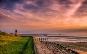 Обои корабли, Англия, Spurn Head, побережье, море, горизонт, коса, закат