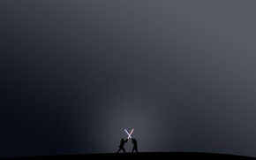Картинка фильм, темно, бой, мечи, звёздные войны