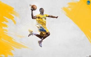 Картинка flame, баскетбол, flying, NBA, Golden State Warriors, Harrison Barnes, agression, slamdunk
