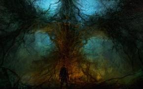 Картинка деревья, дерево, человек, алтарь, Chris-Cold, Элементаль