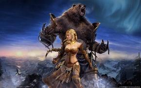 Картинка девушка, фентези, медведь, Guild Wars:Eye of the North