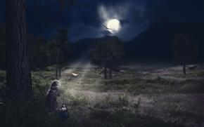 Обои ночь, одиночество, девушка